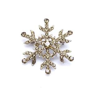 Yellow Topaz Austrian Rhinestones Snowflake Gold-plated Brooch Pin