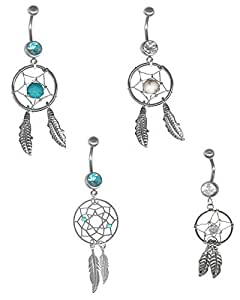 4 PC. Dream Catcher Belly Button Ring Variety Pack 14 gauge 3/8-Two Turquoise Color and Two Clear Dream Catcher Feather Belly Ring Set