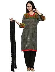 Anksh Printed Black Cotton Kurti, Salwar & Dupatta For Women