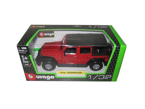 Jeep Wrangler Unlimited Rubicon 4 Doors Red 1/32 by Bburago 43012 (Red Jeep compare prices)