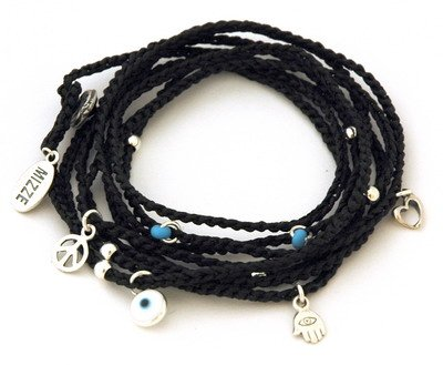 Evil Eye Bracelet with Multiple Stering Silver Charms for Luck & Protection