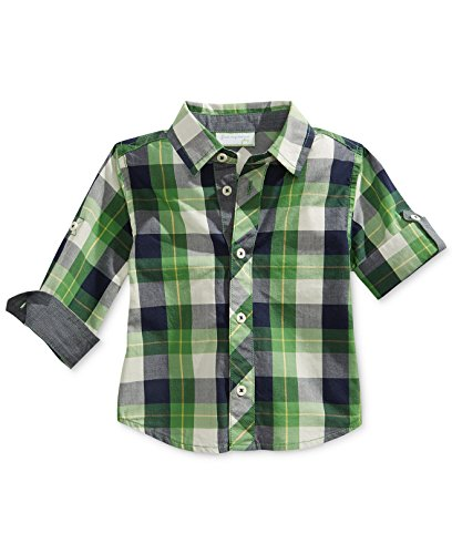 First impressions baby boys 39 green plaid button down shirt for Green plaid button down shirt