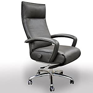 Gaga Grey Leather Executive Relcining Office Chair Office Prod