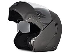 Vega Boolean Flip-up Helmet with Double Visor (Dull Antracite, M)