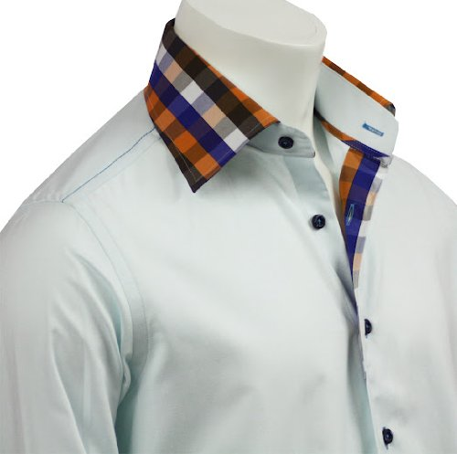 Mens Formal & Casual Italian Design Shirts Contrast Collar Mint Colour Slim