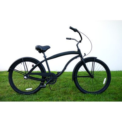 Men's 3-Speed Aluminum Beach Cruiser Frame Color: Flat Black with Black Wheels