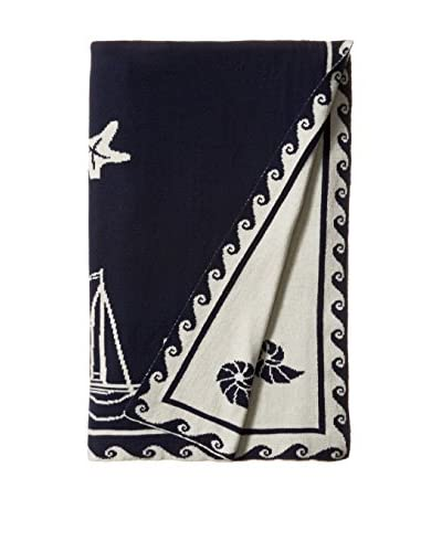 "Darzzi Sea Shell Throw, Navy/Natural, 50"" x 60"""