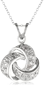 Sterling Silver Diamond Love-Knot Pendant Necklace (1/4 cttw), 18""