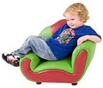 Groovy Kid Gear - Green & Red Vinyl Kid's Lounge Chair [KG-BK06-S076-GG] :  red lounge kid kids chair