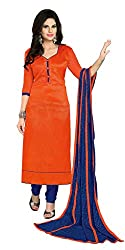 Lovely Look Latest Orange Solid Dress Material