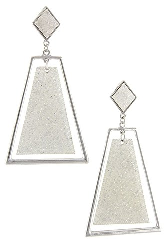 DIVA & DUCHESS GLITTERING TRAPEZOIDS DANGLE EARRINGS (White) (White Resin Earrings compare prices)