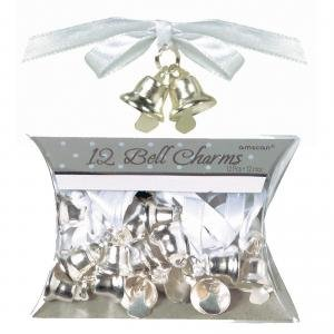 Silver Double Bell Favor Charms, 12ct