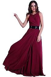 D & S Women's A-line Dress(DNSJN029L_Maroon_Large)