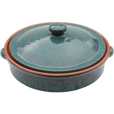 Amazing Cookware 25 cm Terracotta Round Dish with Lid, Peacock Green by Amazing Cookware