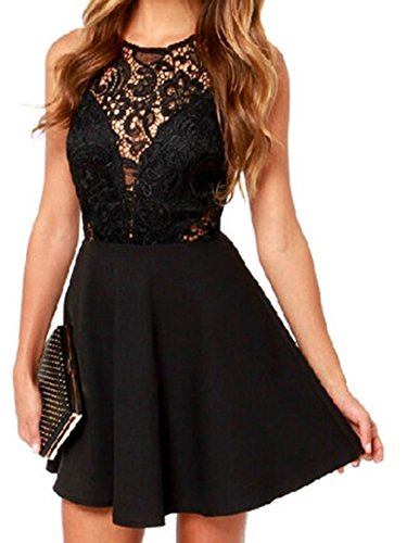 Choies Women's Sheer Lace Panel Sleeveless A-line Dress S