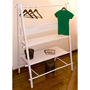 Bamboo Chic Clothes Garment Rail with 3 shelves