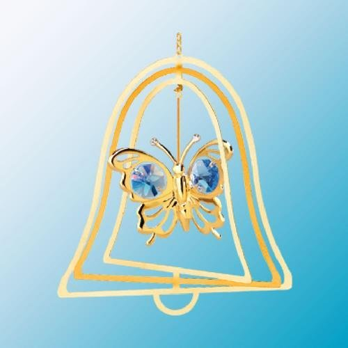 24K Gold Plated Hanging Sun Catcher or Ornament..... Butterfly with Blue Swarovski Austrian Crystals in a Bell - 1