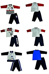 Zero Boys' Clothing Set - 3 Vests and 3 Pants (290-03-White-Navy-XL, Multi-Coloured, 12-18 Months)