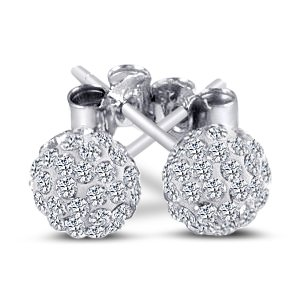 Swarovski Ball Stud Sterling Silver Earrings. 6mm Each 2 Carat Total Weight