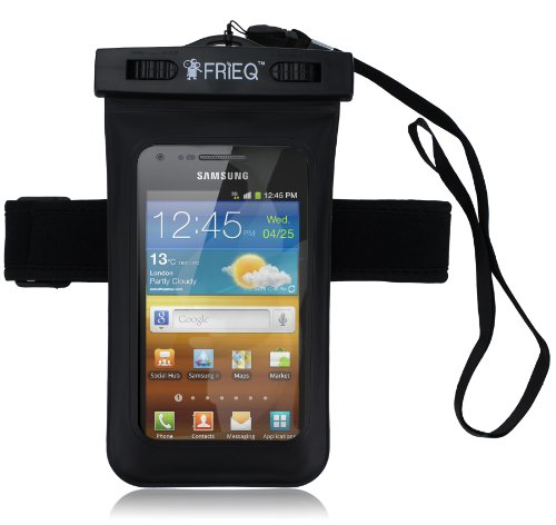 FRIEQ Universal Waterproof Case With Waterproof External Earphone/ Accessory Jack and Armband for Apple iPhone 5, Galaxy S3, HTC One X, Galaxy Note 2 - IPX8 Certified to 100 Feet