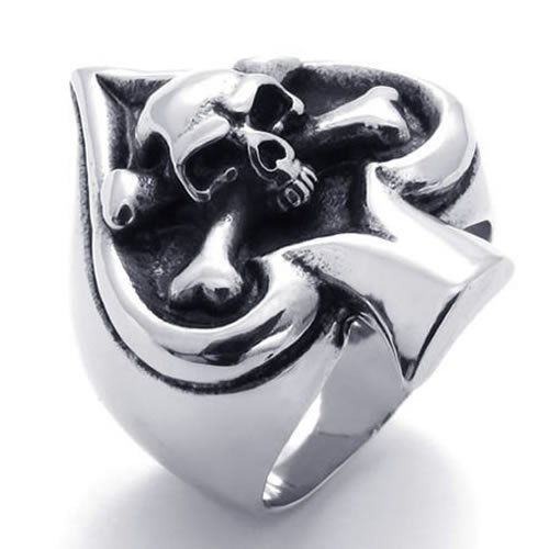 KONOV Jewelry Vintage Gothic Skull Biker Ace of Spades Stainless Steel Mens Ring, Black Silver (Available in Sizes 8 - 15) - Size 10