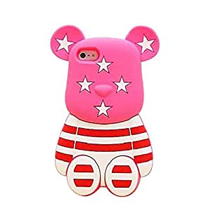 """iPhone 6S Case, MC Fashion Cute 3D Star and Stripe Print Teddy Bear Soft and Protective Silicone Case Cover for Apple iPhone 6/6S 4.7"""" (Pink)"""