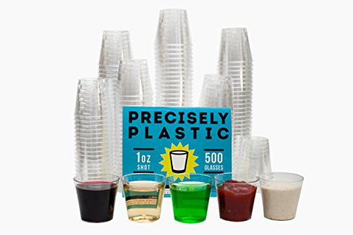 Shot Glasses Premium 1oz Clear Plastic Disposable 500 ct VALUE PACK, Perfect for Jello Shots, Condiments, Tasting, Sample Cups