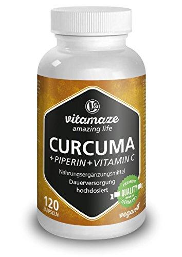 Curcuma + Curcumina Piperina ad alto dosaggio + Vitamina C in capsule, 120 capsule vegan, prodotto di qualità tedesca, ora a un prezzo promozionale e resa gratuita entro 30 giorni! Confezione unica (1 x 105,6 g)