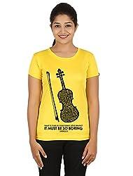 Fanideaz Silky Polyester Favourite Violin Tv Series Sherlock T Shirt for Women_Yellow_XL