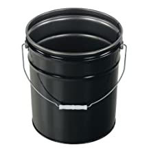 Vestil PAIL-STL-RI-UN Steel Pail with Handle, 5 gallon Capacity, Black