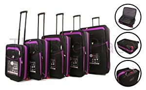Black Pink Cities 5 Piece 2 Wheeled Suitcases Lightweight Nylon Set Cabin Bag Set