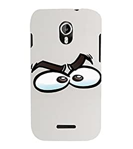 PrintVisa Cartoon Eyes Emotion 3D Hard Polycarbonate Designer Back Case Cover for Micromax Magnus A117