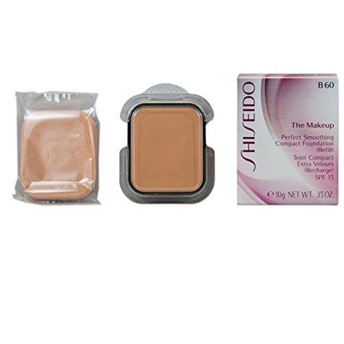 Shiseido - Fondotinta compatto lisciante SPF 15, ricarica, n° B60 Natural Deep Beige, 1 pz. (1 x 10 ml)