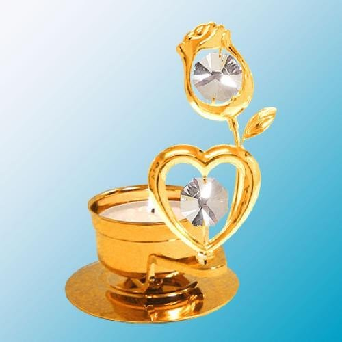 24K Gold Plated Heart With Rose Tea-Light..... With Clear Swarovski Austrian Crystal - 1