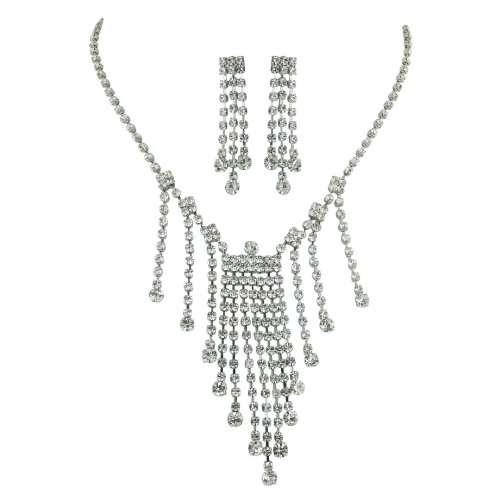 Brass Rhodium 13 inches + 3 Inches extensions Necklace Earrings Colorless Crystal Soft Links Open Teardrop