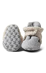 Zutano - Cozie Fleece Furry Lined Bootie With Grippers - Heather Gray - Size 12 month