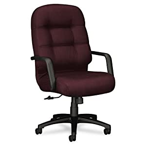 Hon 2090 Series Pillow-soft Exec. High-back Chair - Wine Seat - Plush Wine Back - Black Frame - 26 X 29.8 X 46.5 Overall Dimension