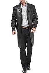 BGSD Men's Zealand Lambskin Leather Walking Long Coat