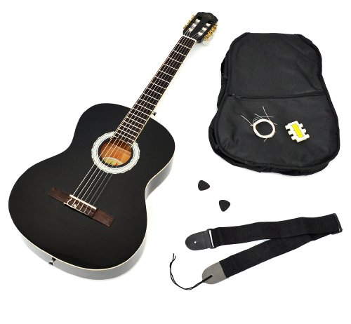4/4 guitare de concert acoustique classique en noir avec housse rembourrée et...