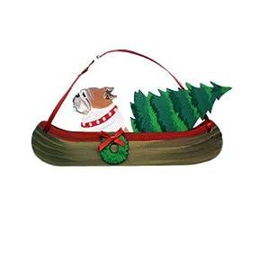English Bulldog Canoe Dog Wood Handpainted 3-Dimensional Christmas Ornament - USA made.