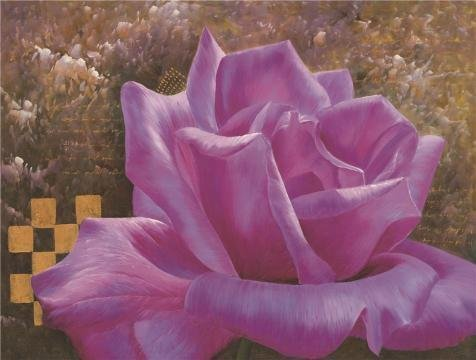 [The Perfect Effect Canvas Of Oil Painting 'a Purple Rose' ,size: 10x13 Inch / 25x34 Cm ,this Vivid Art Decorative Canvas Prints Is Fit For Hallway Decoration And Home Decor And] (Trailer Trash Outfits)