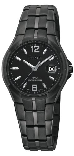 Pulsar Women's PXT743 Black Ion Finish Case and Bracelet Black Dial Watch
