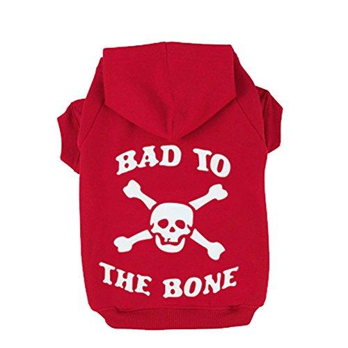 Red M BAD TO THE BONE Printed Skull Cat Fleece Sweatershirt Dog Hoodies