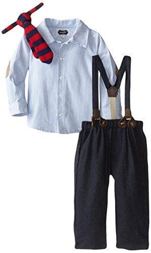 Mud Pie Baby-Boys Newborn Suspender Pant Set, Chambray/Navy, 12-18 Months