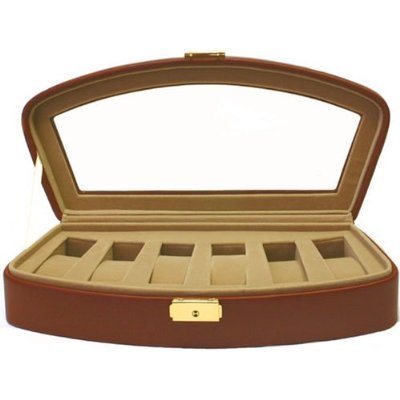 Watch Storage Box Leather Case For 6 Watches Brown