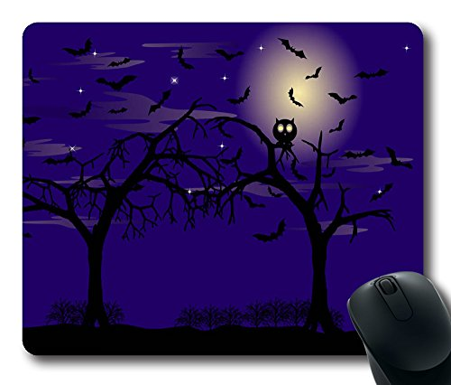 Two Trees Bats Halloween Moon In The Skynew Hot Comfortable Mouse Pad Large Size Durable Game Mouse Pad