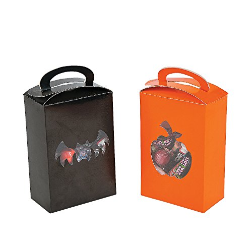 12 Orange & Black Halloween Treat Boxes with Pumpkin and Bat Cutouts for Candy or Party Favors - 1