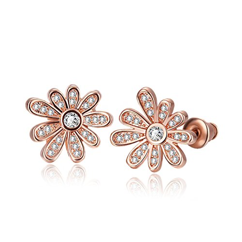 Duo La Lovely Flower 18K Rose Gold Plated Cubic Zirconia Fashion Charm Lady Stud Earrings (Cubic Deep Freezer compare prices)