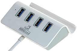 NRGized M-325 4 Port USB Hub with Stand and 2 - Foot Cable (Silver)
