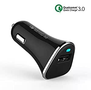 Qualcomm Quick Charge 3.0, 18W USB Car Charger (Quick Charge 2.0 Compatible) PowerPort+ 1 (White/Black) (Black)